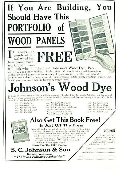 1912 Johnson's WOOD DYE PROMO AD (Image1)