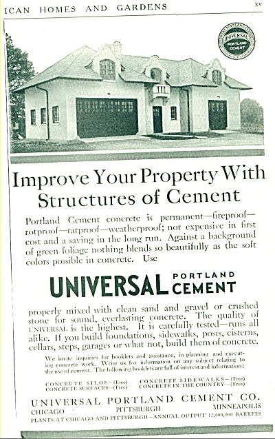 1912 Universal Portland Cement HOUSE PROMO AD (Image1)