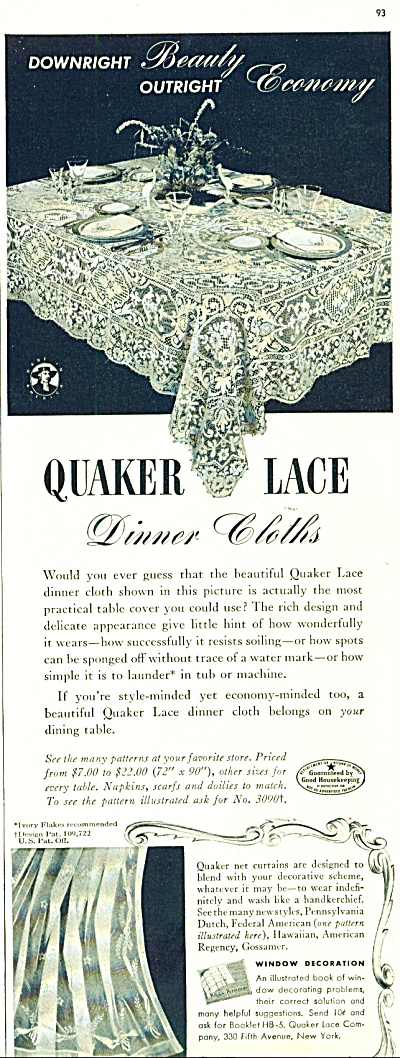 Quaker Lace dinner cloths ad 1942 TABLECLOTH (Image1)