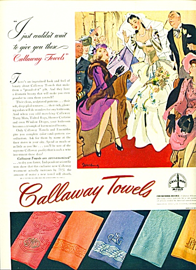 1942 Callaway TOWEL AD GILBERT BUNDY ART (Image1)