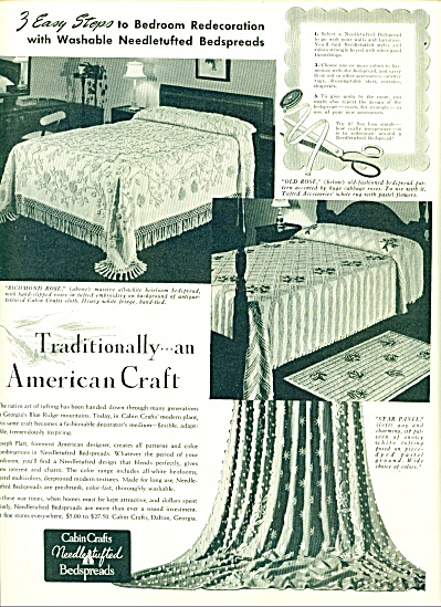 Cabin Crafts Needlestufted Bedspreads Ad 1942