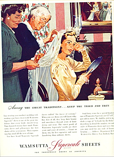 1942 Wamsutta Bride Getting Ready Ad Artwork