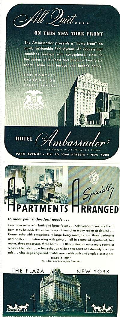 Hotel Ambassador - The Plaza Hotel ads 1942 (Image1)