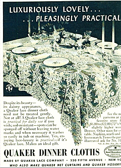 Quaker dinner cloths ad 1942 (Image1)