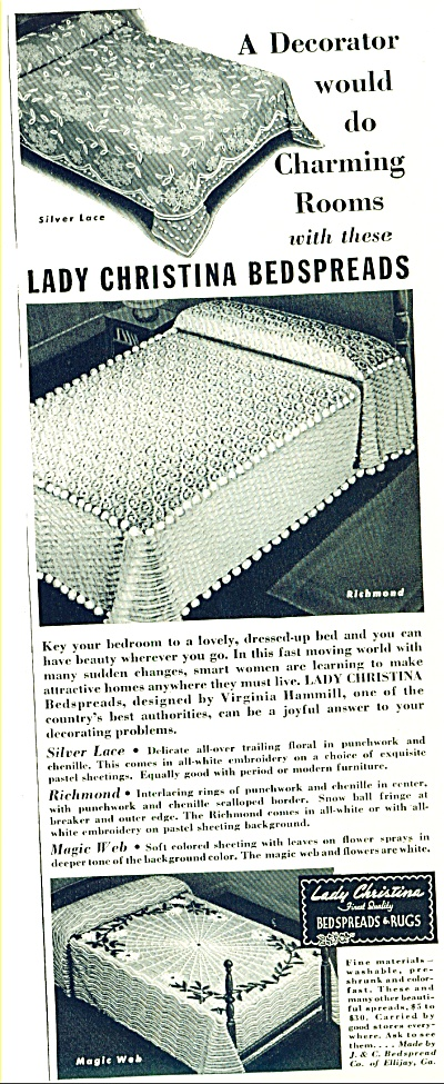 Ladychristina Bedspreaqds & Rugs Ad 1942