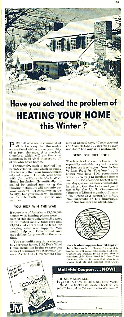 Johns-Manville bown home insulation ad 1942 (Image1)
