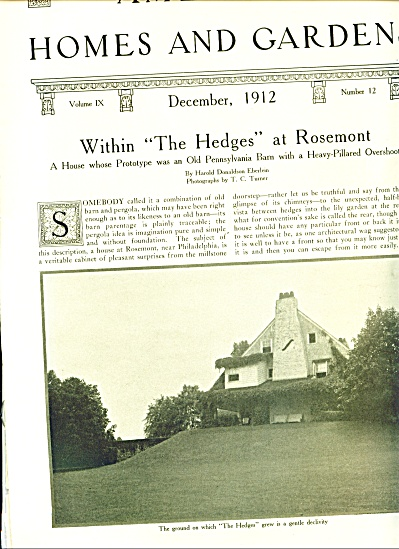 1912 EXPOSE Vintage HOMES - Gardens ARTICLE (Image1)