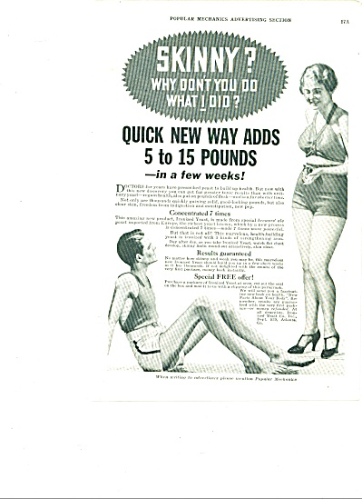 1934 Ironized YEAST Weaking Skinny MAN AD B/W PHOTO (Image1)