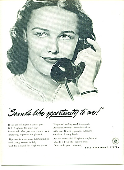1946 Bell Telephone System Ad Woman On Phone