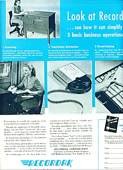Recordak - business machine ad 1946 (Image1)