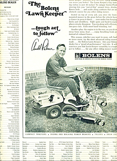 Bolen's lawn tractors ad - ARNOLD PALMER (Image1)