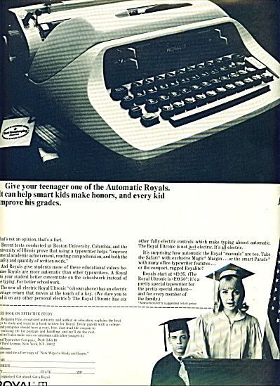 Royal Typewriter company ad 1967 (Image1)