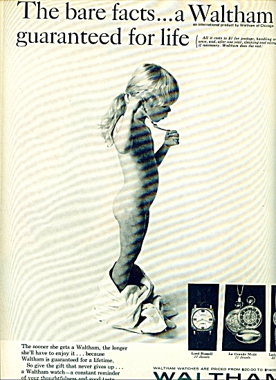 Waltham watches ad 1967 NUDE LITTLE GIRL Bare Facts (Image1)