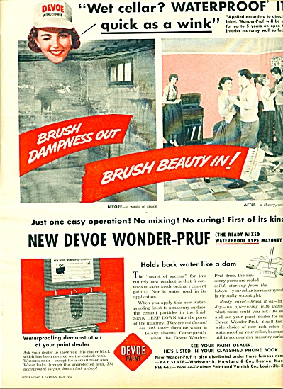 Devoe paint = Waterproof basement ad 1956 (Image1)