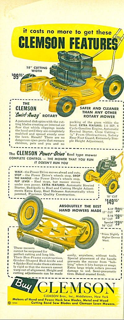 Clemson lawn mowers ad 1956 (Image1)
