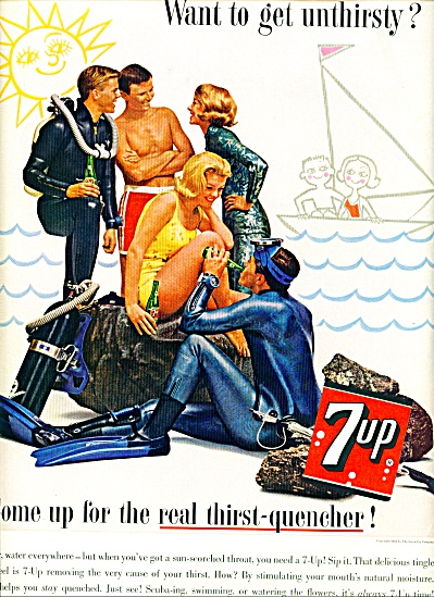 1963 Seven Up 7UP AD SKIN DIVING (Image1)