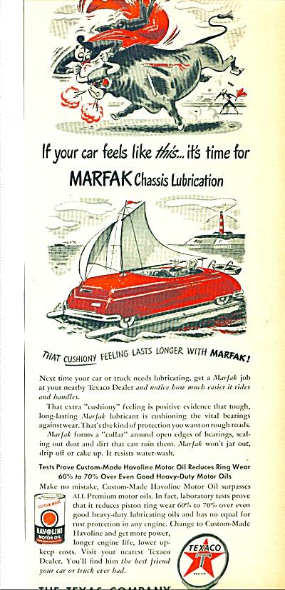 1950 TEXACO GAS AD Marfak Cartoon ART LUBRICATION (Image1)