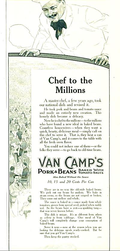1914 Van Camps Pork - Beans AD CHEF Vintage A (Image1)