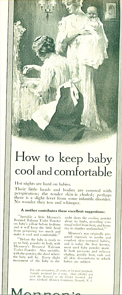 1914 Mennen's Powder AD VINTAGE ARTWORK Baby (Image1)