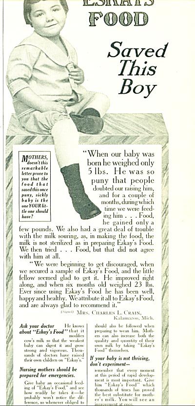 1914 ESKAY'S  FOOD Promo AD Charles CRAIN (Image1)