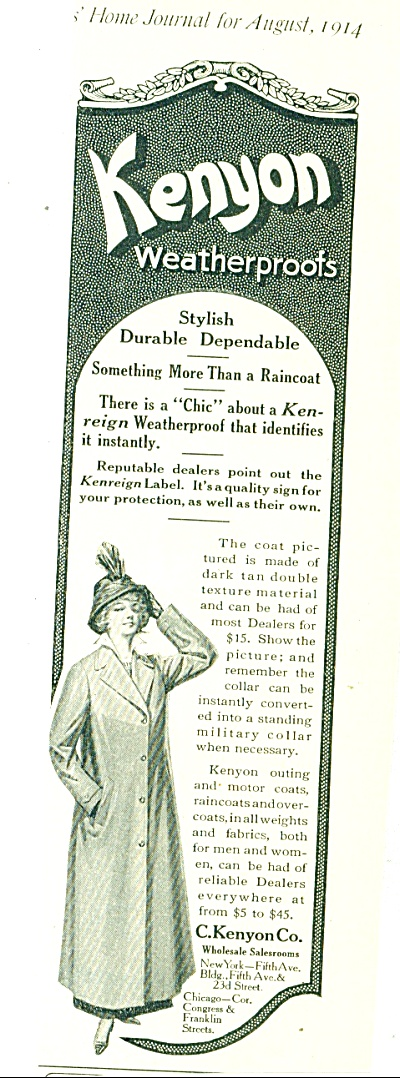 Kenyon weatherproofs - Raincoat ad 1914 (Image1)