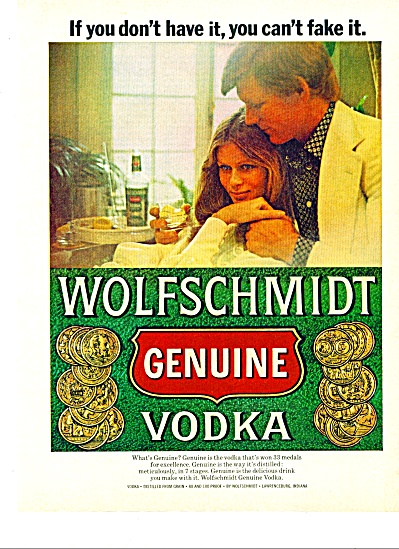 Wolfschmidt Genuine Vodka Ad 1973