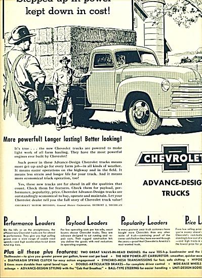 1950 Chevrolet CHEVY TRUCK AD FARMER ART (Image1)