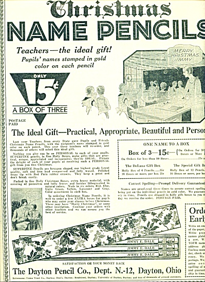 1930 The Dayton Pencil Co. AD PERSONALIZED (Image1)