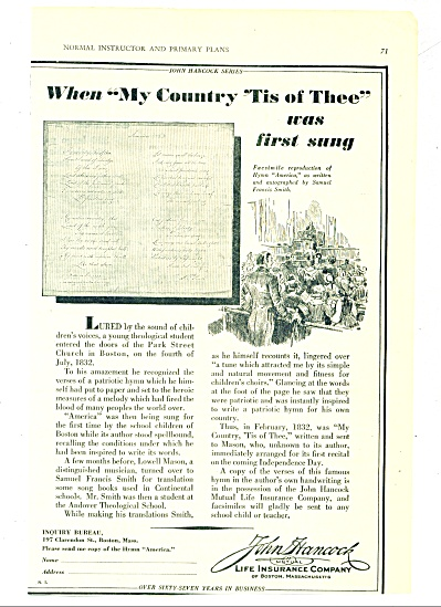 1930 John Hancock life insurance Co AD (Image1)