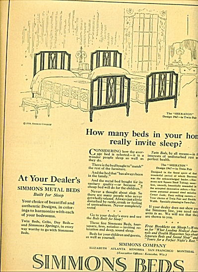 Simmons Beds - built  for sleep ad 1920 (Image1)
