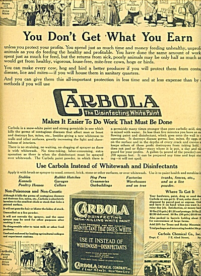 1920 AD Carbola Lice Killing FARM Painting AD Vintage  (Image1)