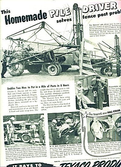 1950 TEXACO GAS AD HOOVER PILE DRIVER (Image1)