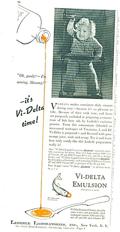 Vi-Delta Emulsion (Vitamins A & D) ad 1940 (Image1)