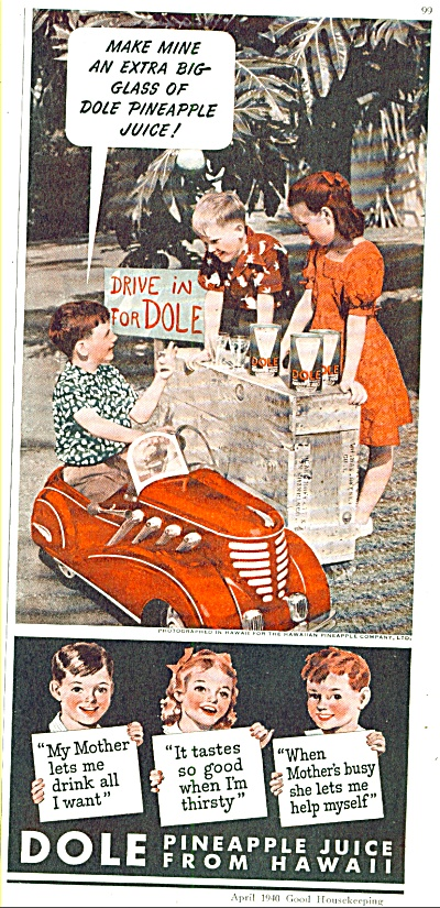 Dole pineapple juice from Hawaii ad 1940 (Image1)