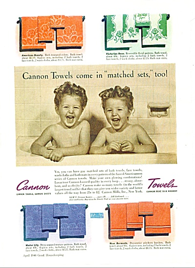 1940 Cannon Towels AD Nude GIRLS in BATHTUB C (Image1)