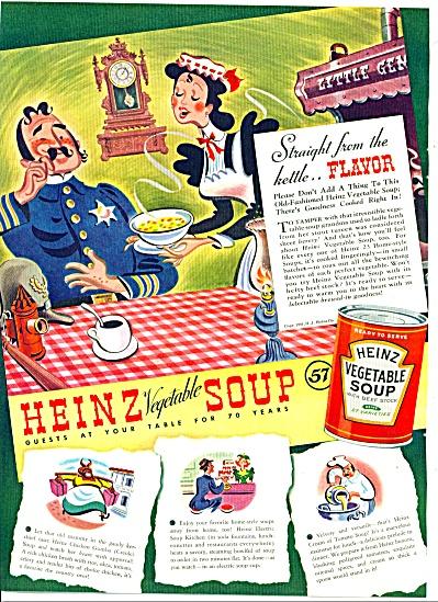 1940 Heinz Soup AD Vintage POLICEMAN ART (Image1)