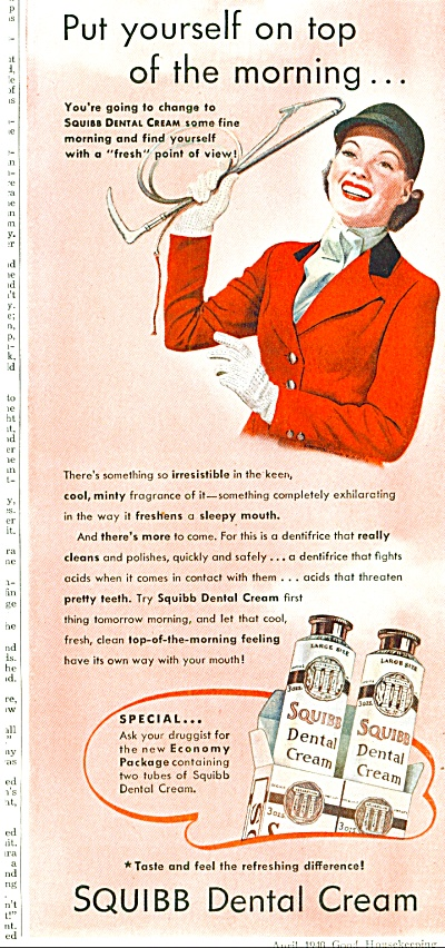 1940 Squibb Dental Cream ad Woman EQUESTRIAN (Image1)