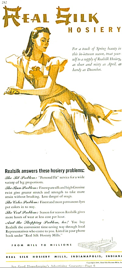 1940 Real silk hosiery AD Woman Artwork (Image1)