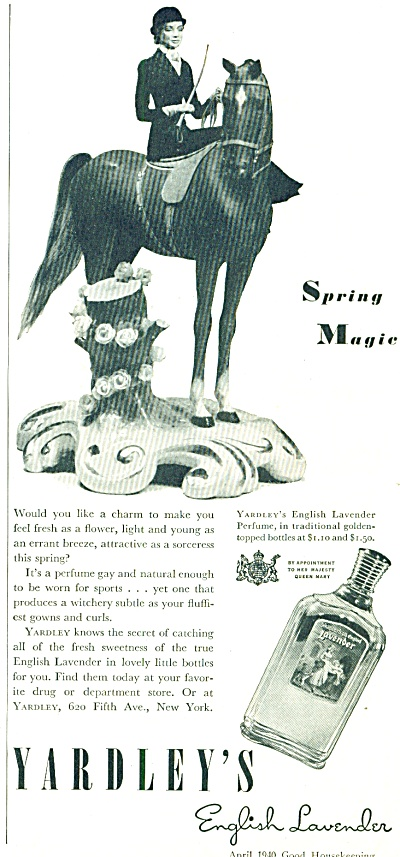 1940 YARDLEY English LAVENDER AD Equestrian (Image1)