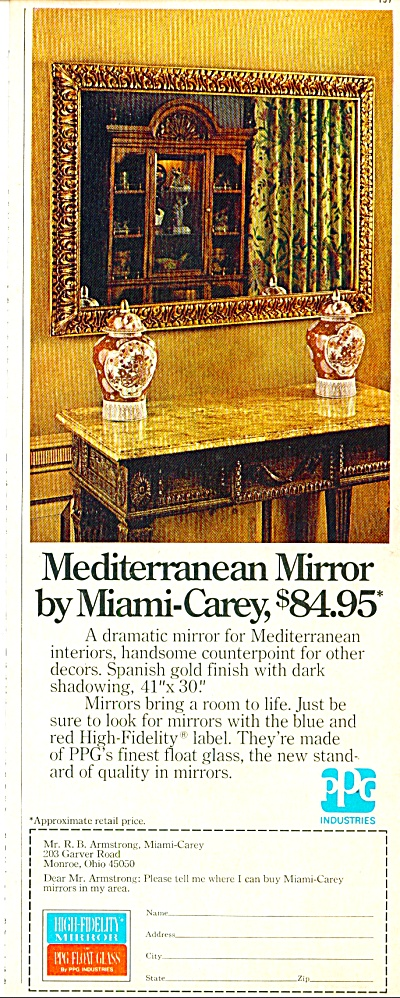 Mediterranean Mirror by Miami-Carey ad 1974 (Image1)