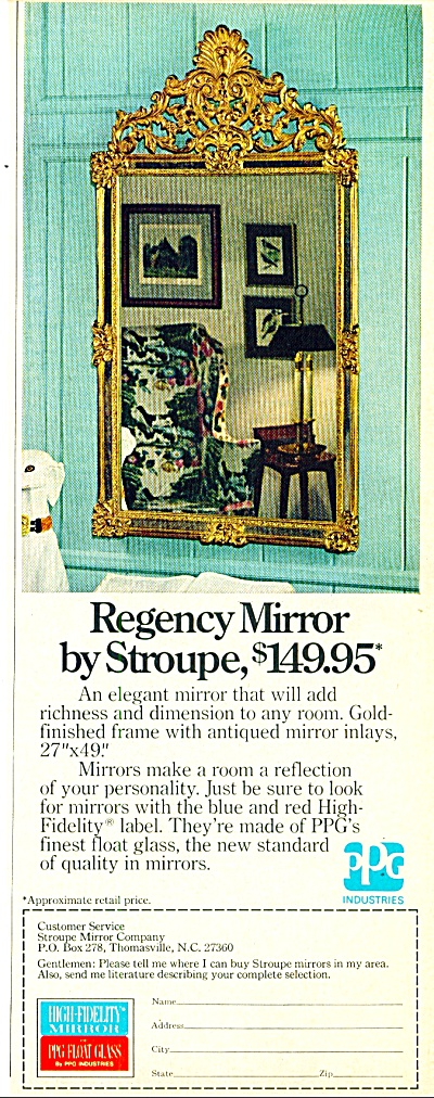 Regency Mirror by Stroupe ad 1974 (Image1)