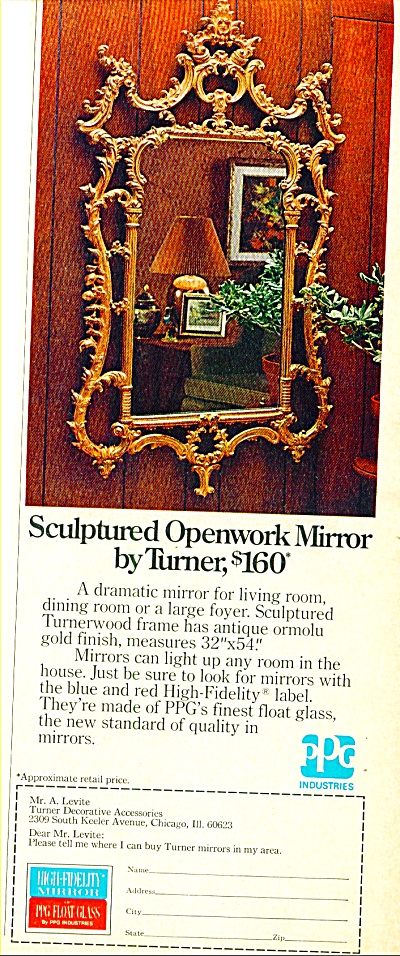 Sculptured Openwork Mirror by Turner ad 1974 (Image1)
