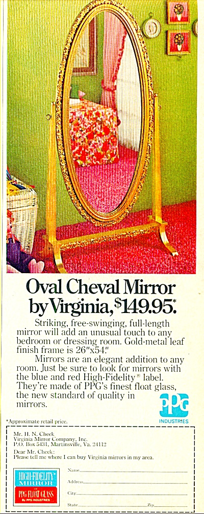 Oval  Cheval Mirror by Virginia ad 1974 (Image1)