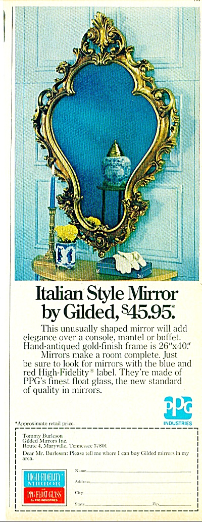 Italian Style Mirror By Gilded Ad 1974