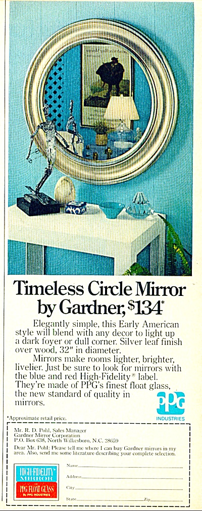Timeless Circle Mirror by Gardner ad 1974 (Image1)