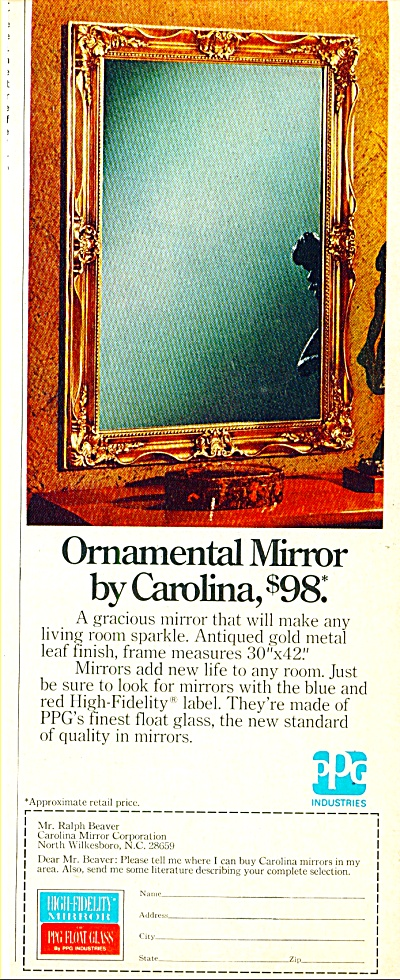 Ornamental Mirror by Carolina ad 1974 (Image1)