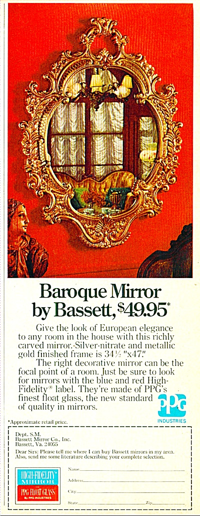 Baroque Mirror By Bassett Ad 1974