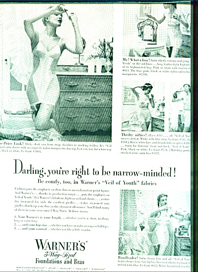 1950 WARNER'S BRA - GIRDLE AD Beauty MODELS (Image1)