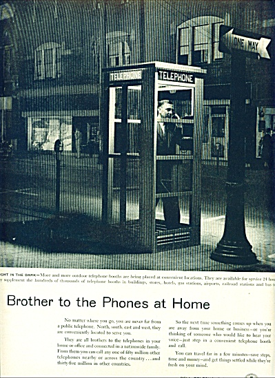 1955 Bell Telephone Ad Brother Phonebooth