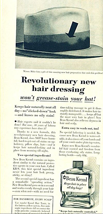 Beau Kreml hair dresssing ad 1955 (Image1)